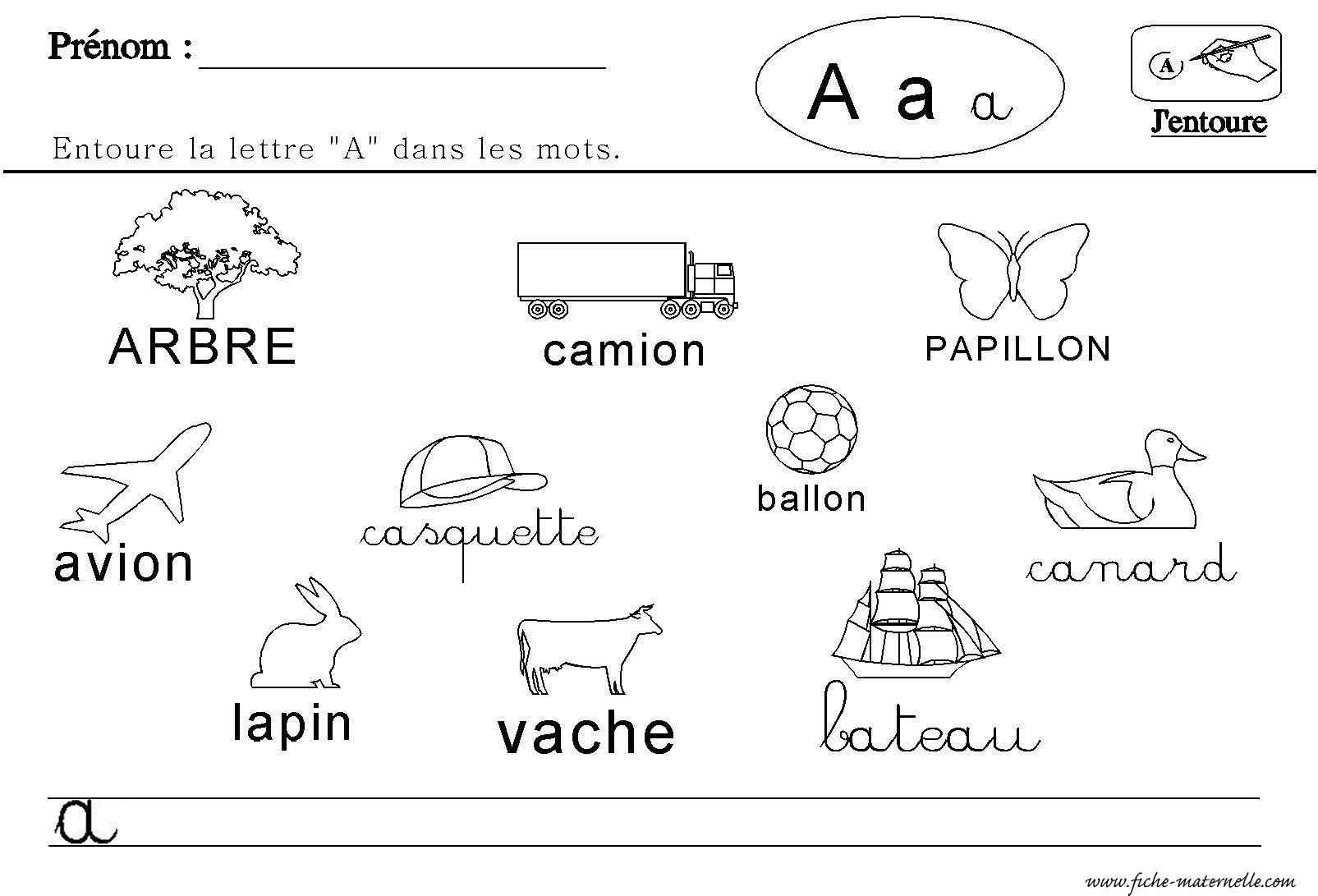 le lettre a Maternelle : lecture des lettres de l'alphabet le lettre a