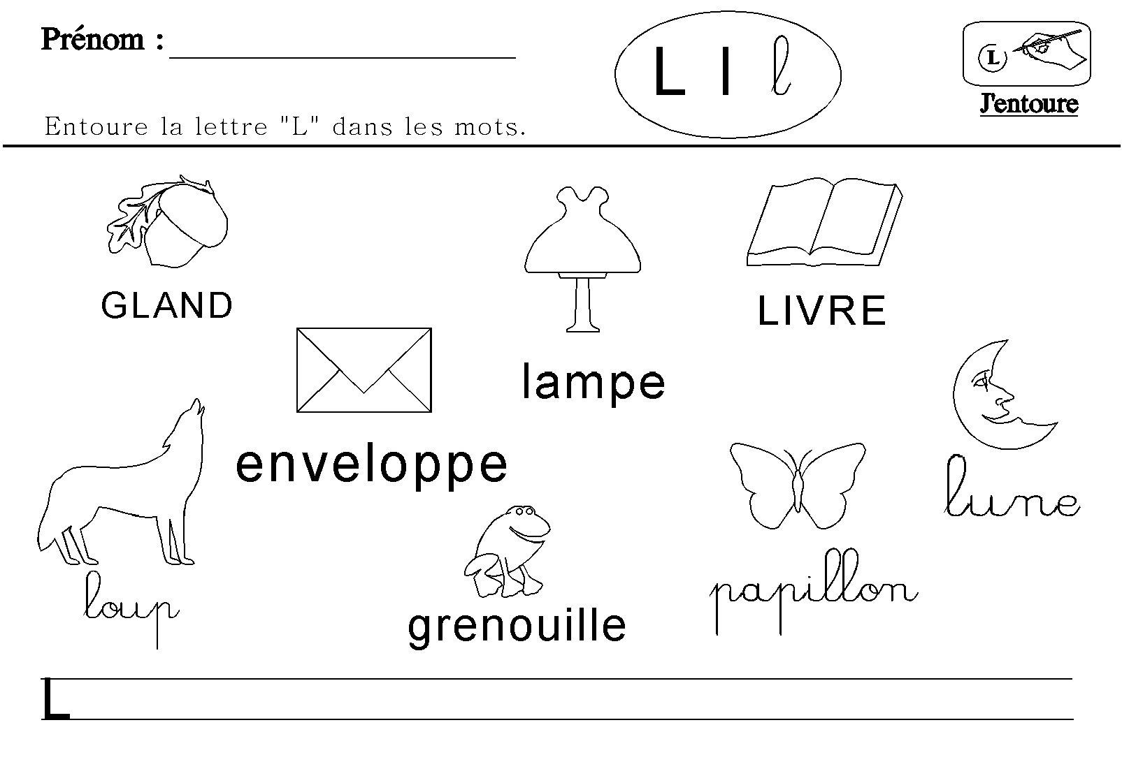 la lettre l Maternelle : lecture des lettres de l'alphabet la lettre l