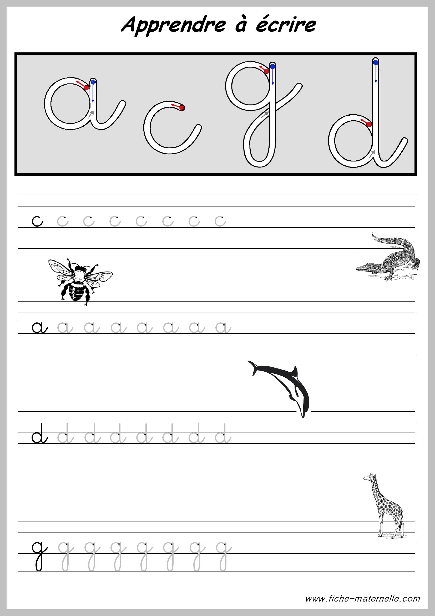 Exercices pour apprendre a ecrire - Alphabet francais maternelle ...