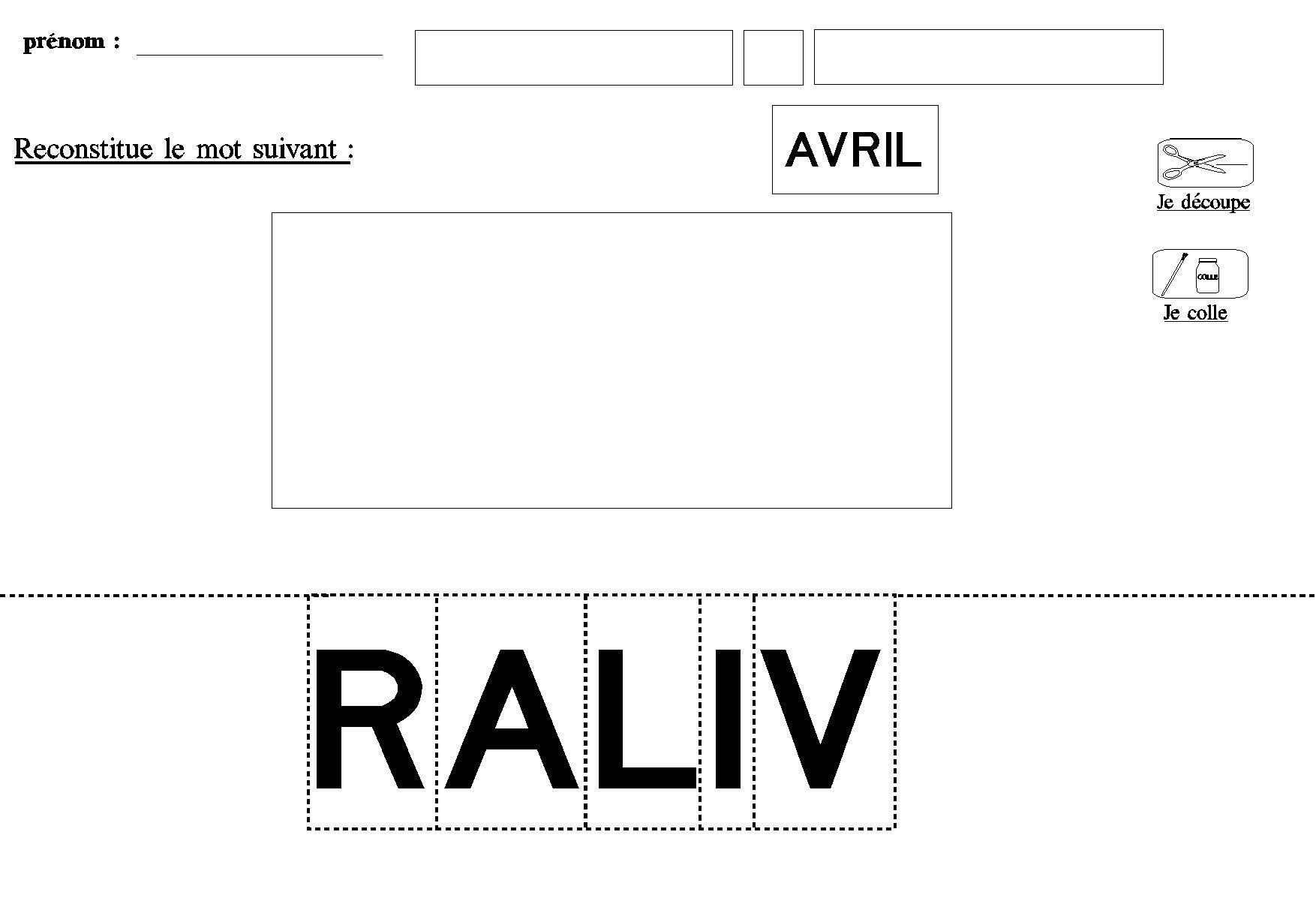 Lire Decouper Coller Les Lettres Capitales Et Composer Le Mot Avril