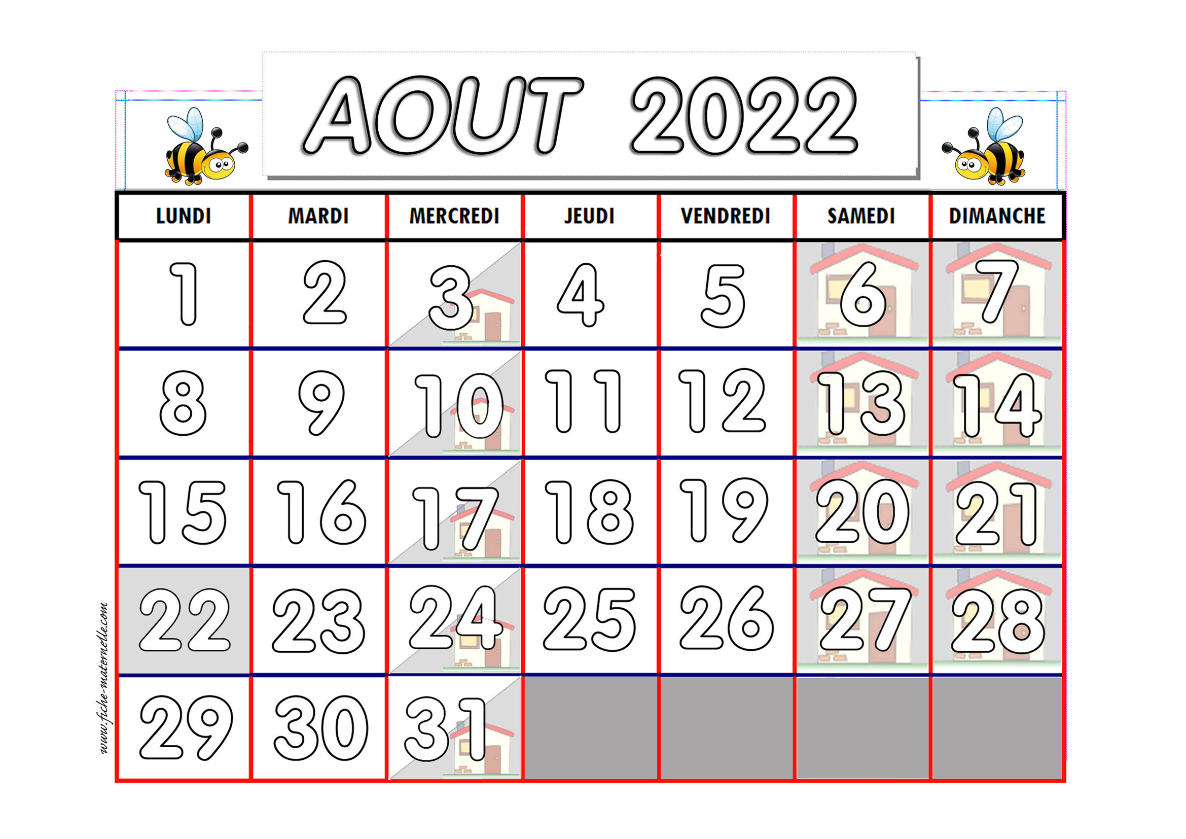 Calendrier Mois Aout 2019.Calendrier Adapte Aux Maternelles Et Prescolaires