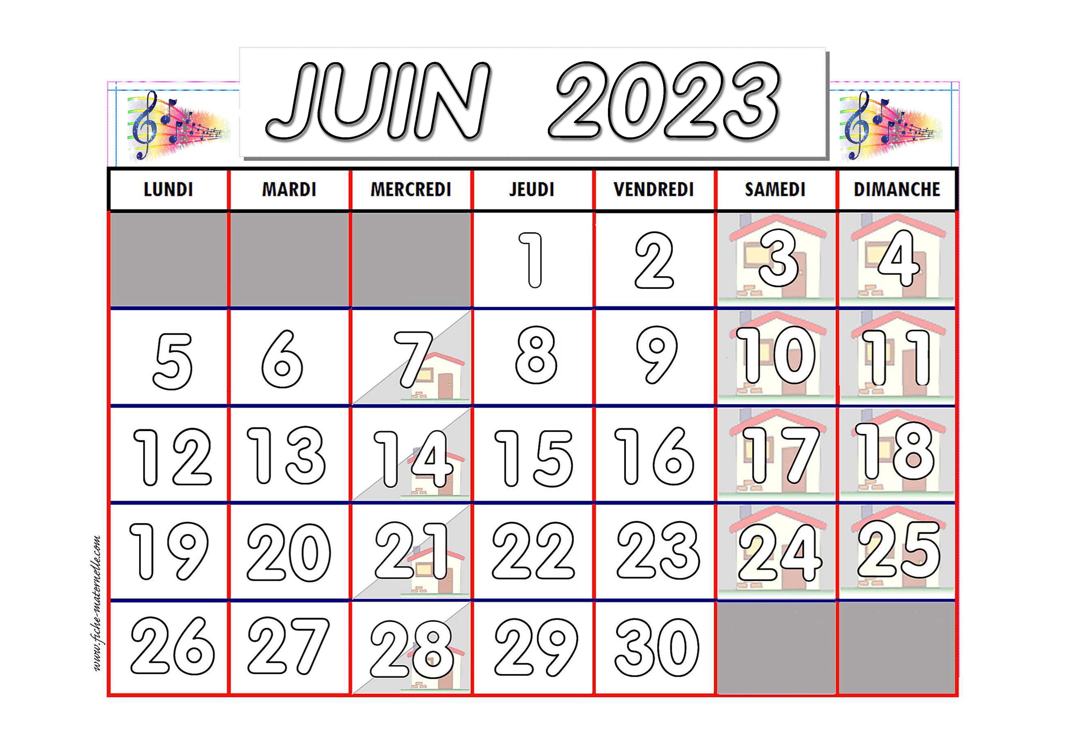 Calendrier Du Mois De Juin 2021 Calendrier adapté aux maternelles et préscolaires 2020 2021