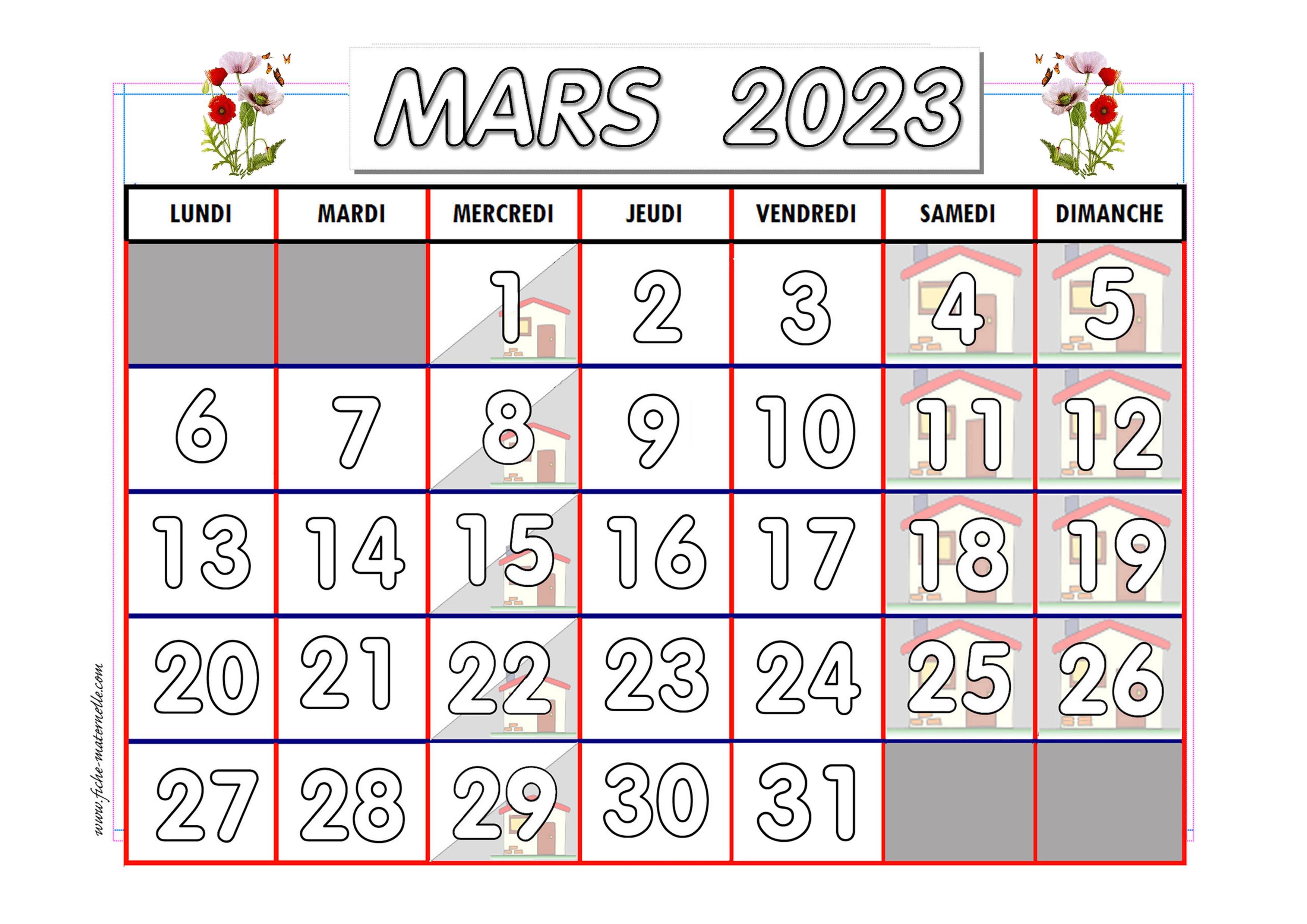 Calendrier Mars 2021 Maternelle Calendrier adapté aux maternelles et préscolaires 2020 2021