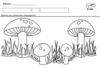Fiches maternelles de graphisme grande section moyenne - Dessiner un champignon ...