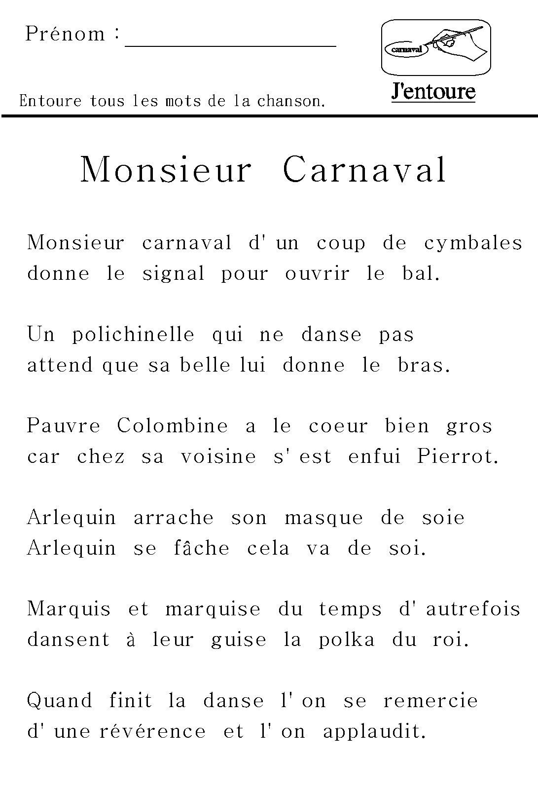 """Reconnaître un mot dans un texte : chanson """"Monsieur Carnaval"""""""