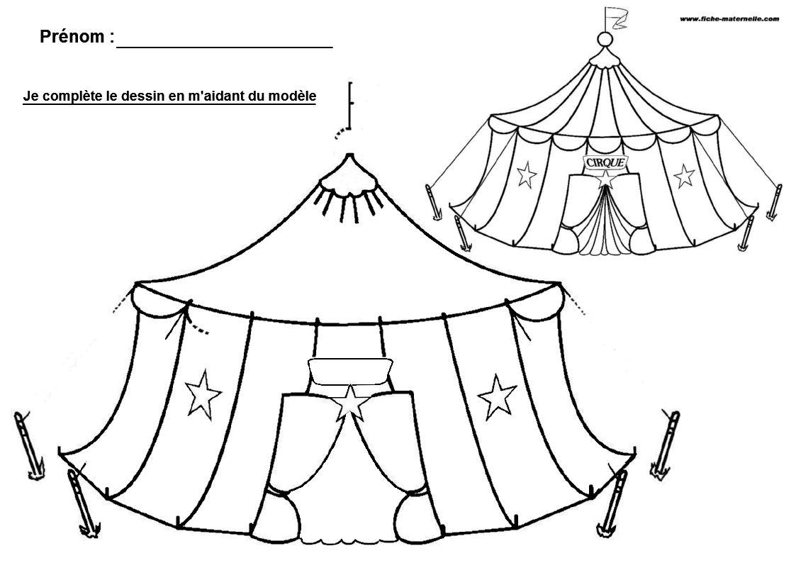 Ecole maternelle et cp compl ter un dessin - Coloriage cirque maternelle ...