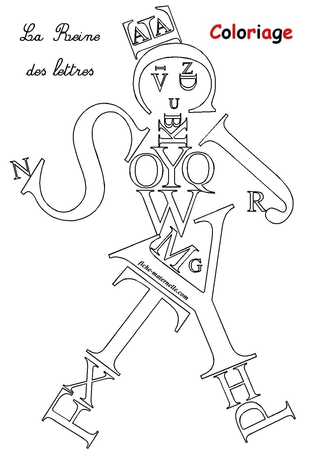 Coloriage ducatif pour les plus petits les lettres de l 39 alphabet - Coloriage de lettre ...