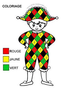 Arlequin Coloriage Couleur.Activite Graphique En Classe