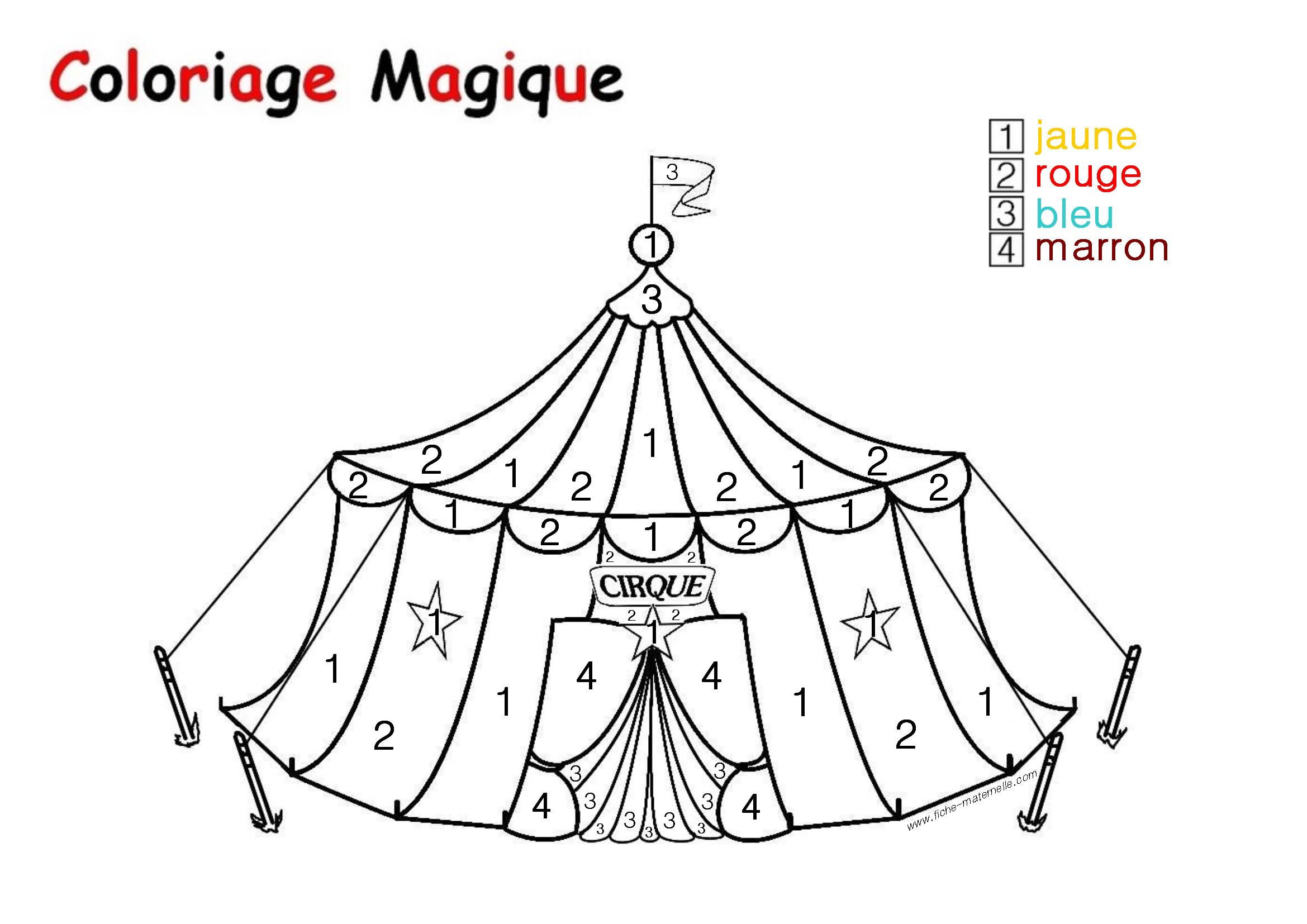 Coloriage magique Le Chapiteau d un cirque