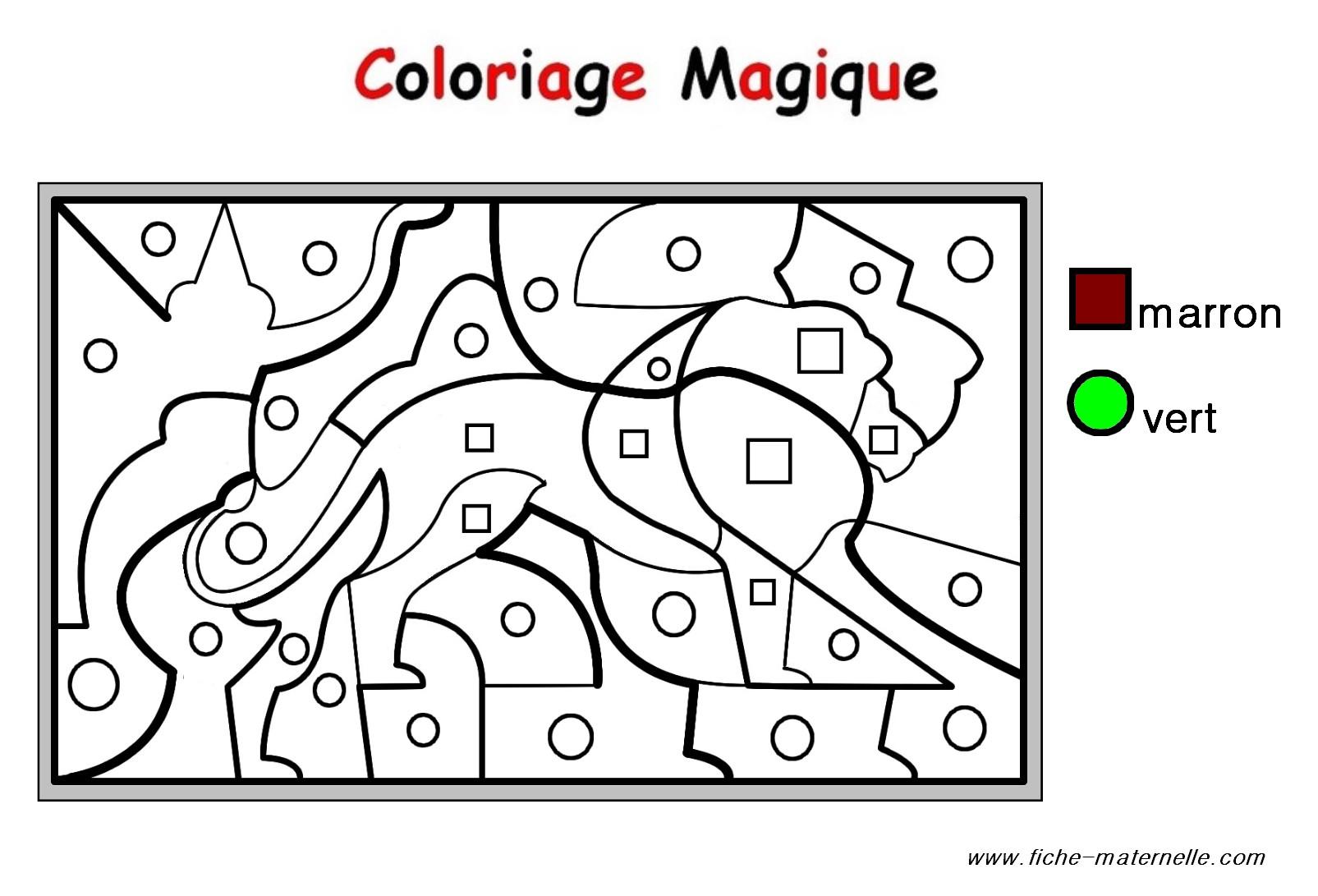 Coloriage magique Un Lion niveau PS MS