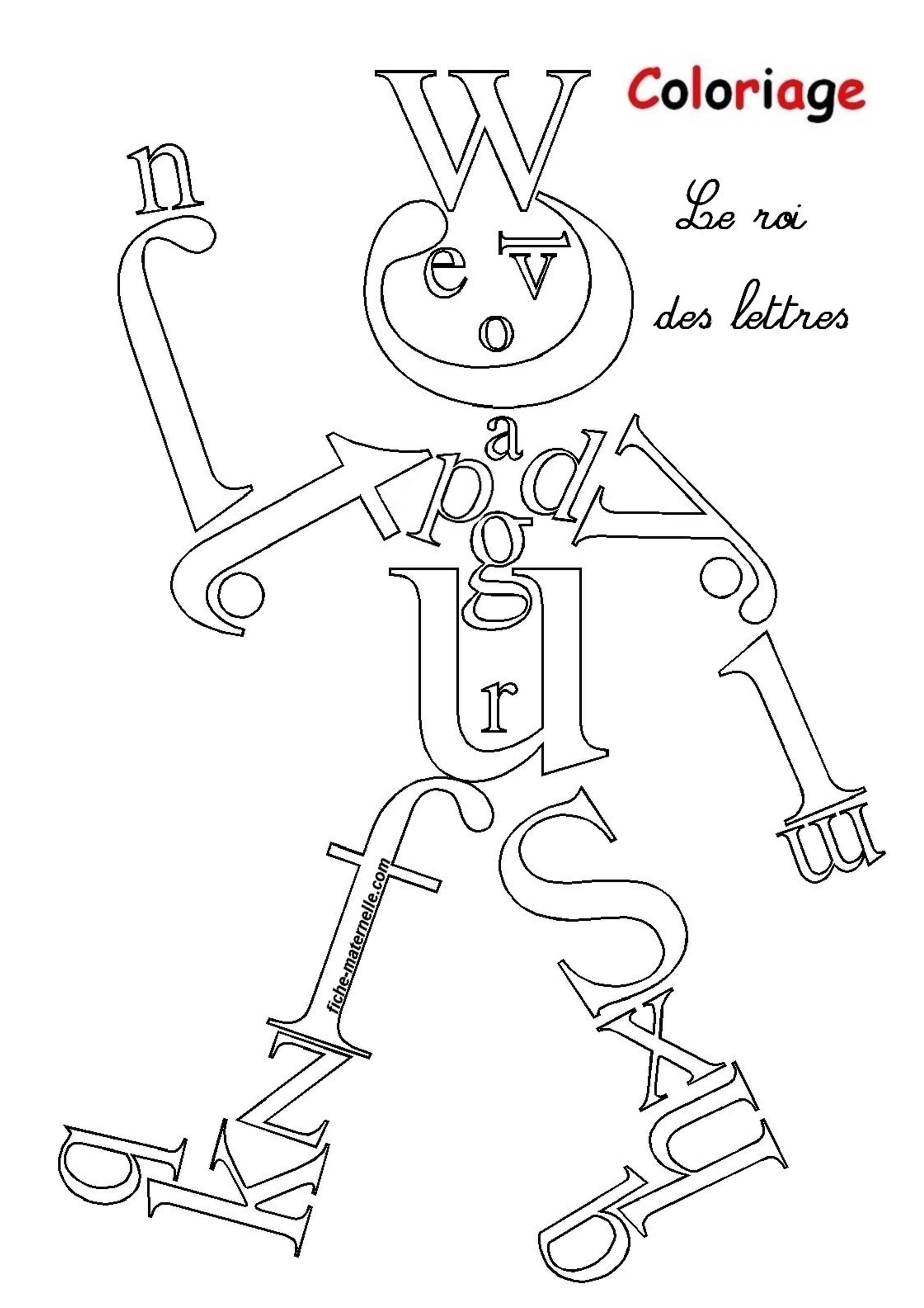 Coloriage ducatif pour les plus petits apprendre les lettres - Coloriage de lettre ...