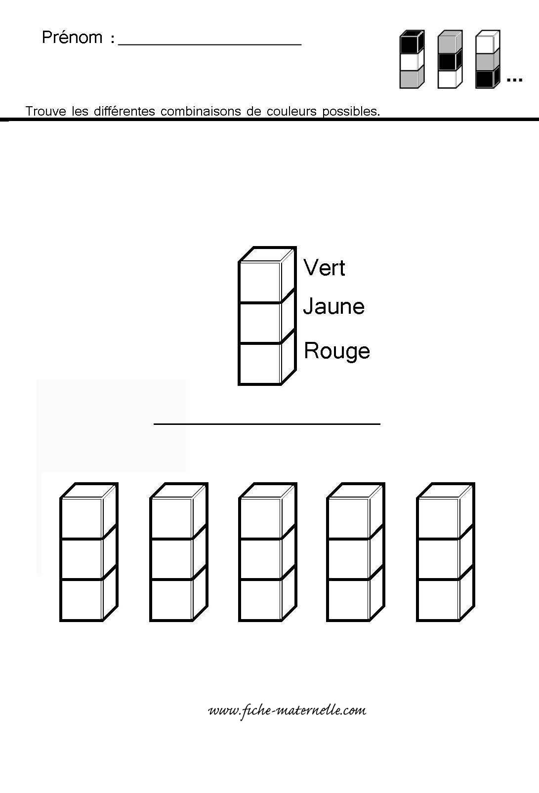 site maternelle et CP : exercices de logique (cubes et ...