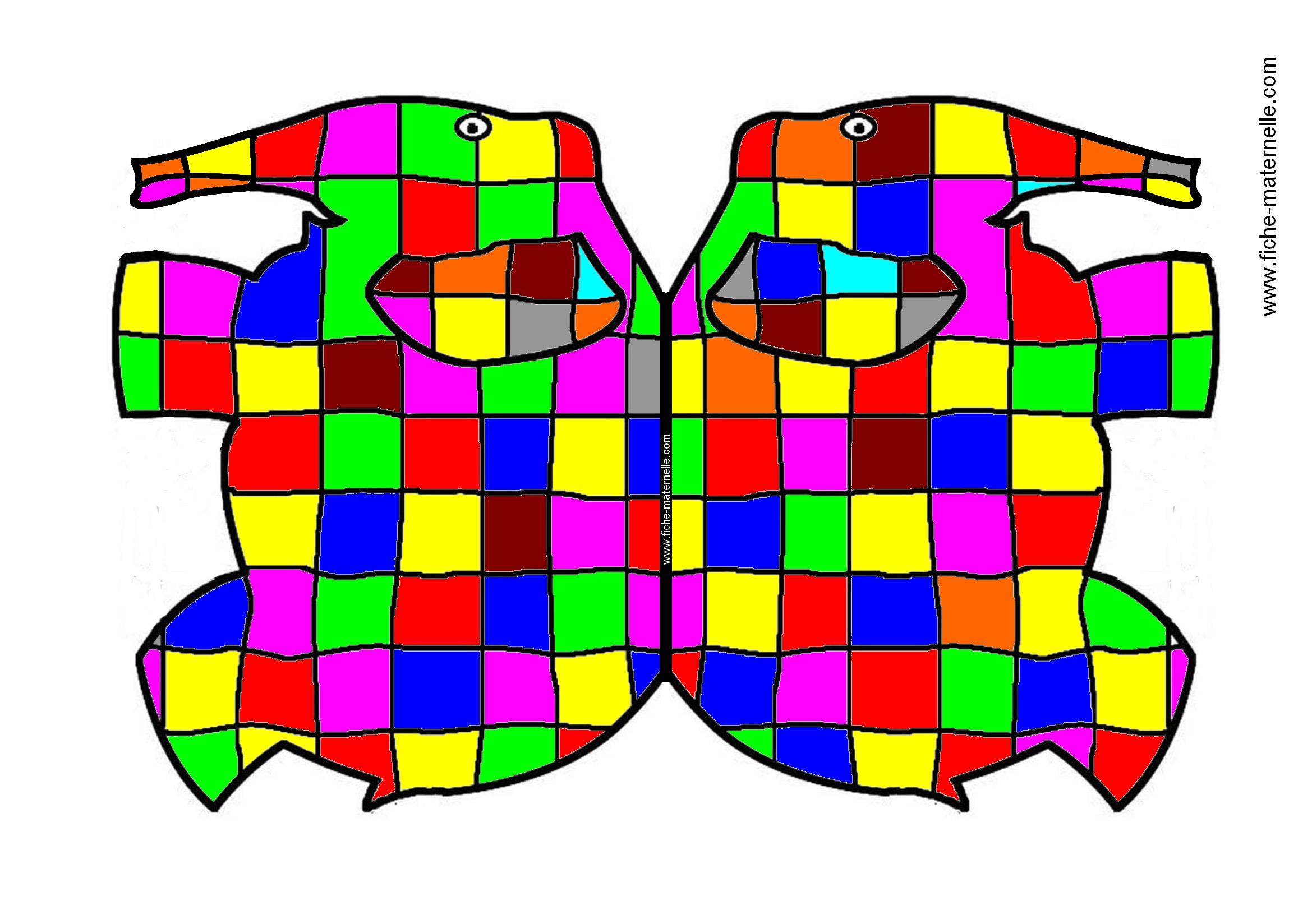 Coloriage Elmer Maternelle.Art Plastique A La Maternelle Autour De L Album Elmer