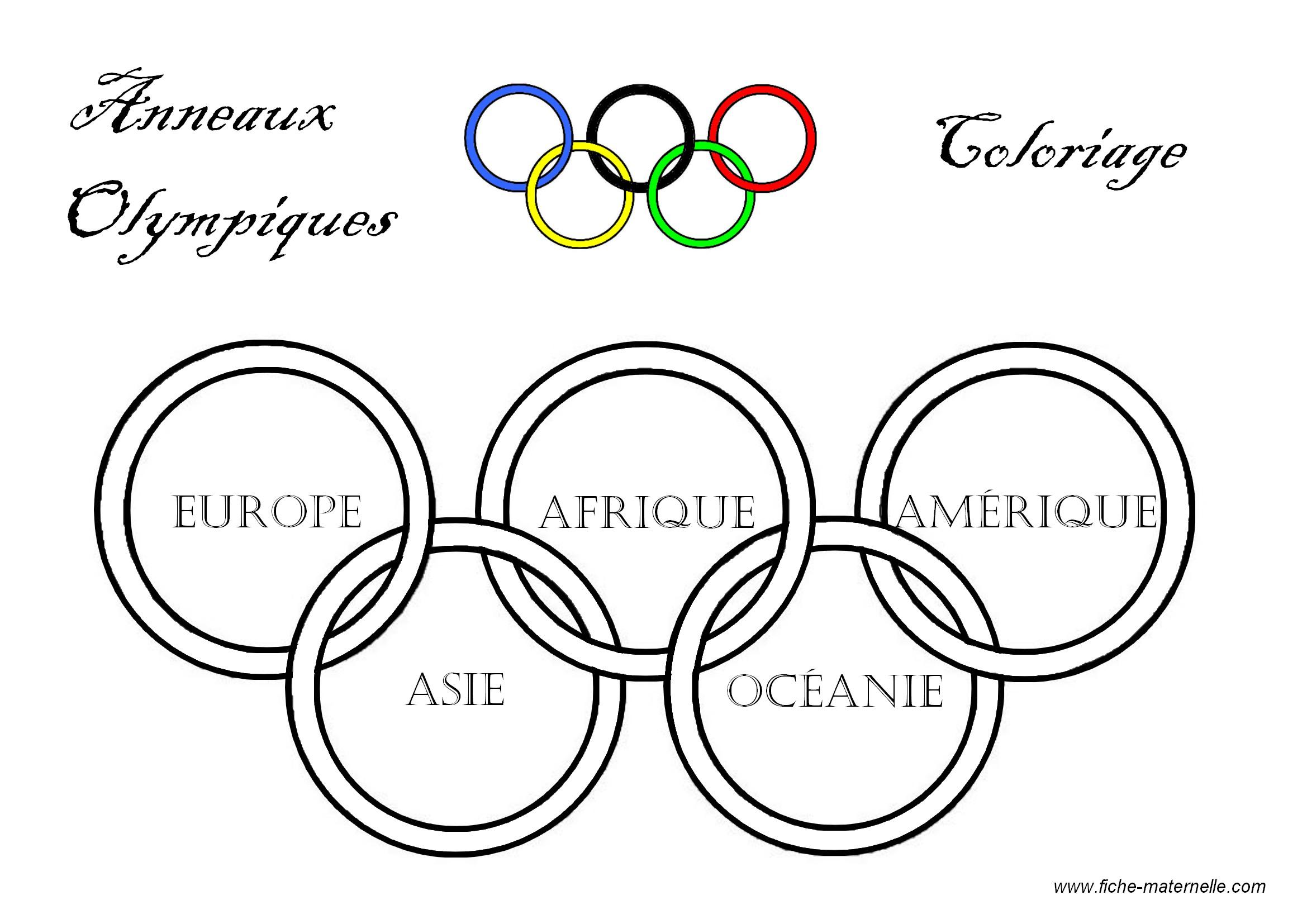 Coloriage educatif pour maternelle et l mentaire les anneaux olympiques - Anneau des jeux olympique ...
