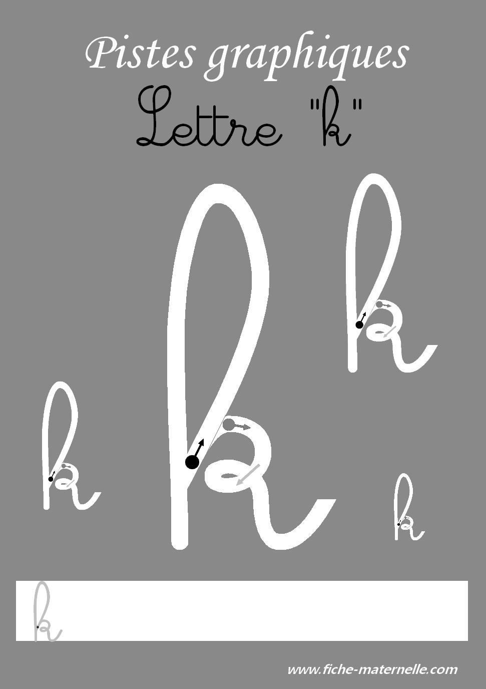 lettre k en attaché PISTES GRAPHIQUES pour apprendre à écrire les lettres de l'alphabet lettre k en attaché
