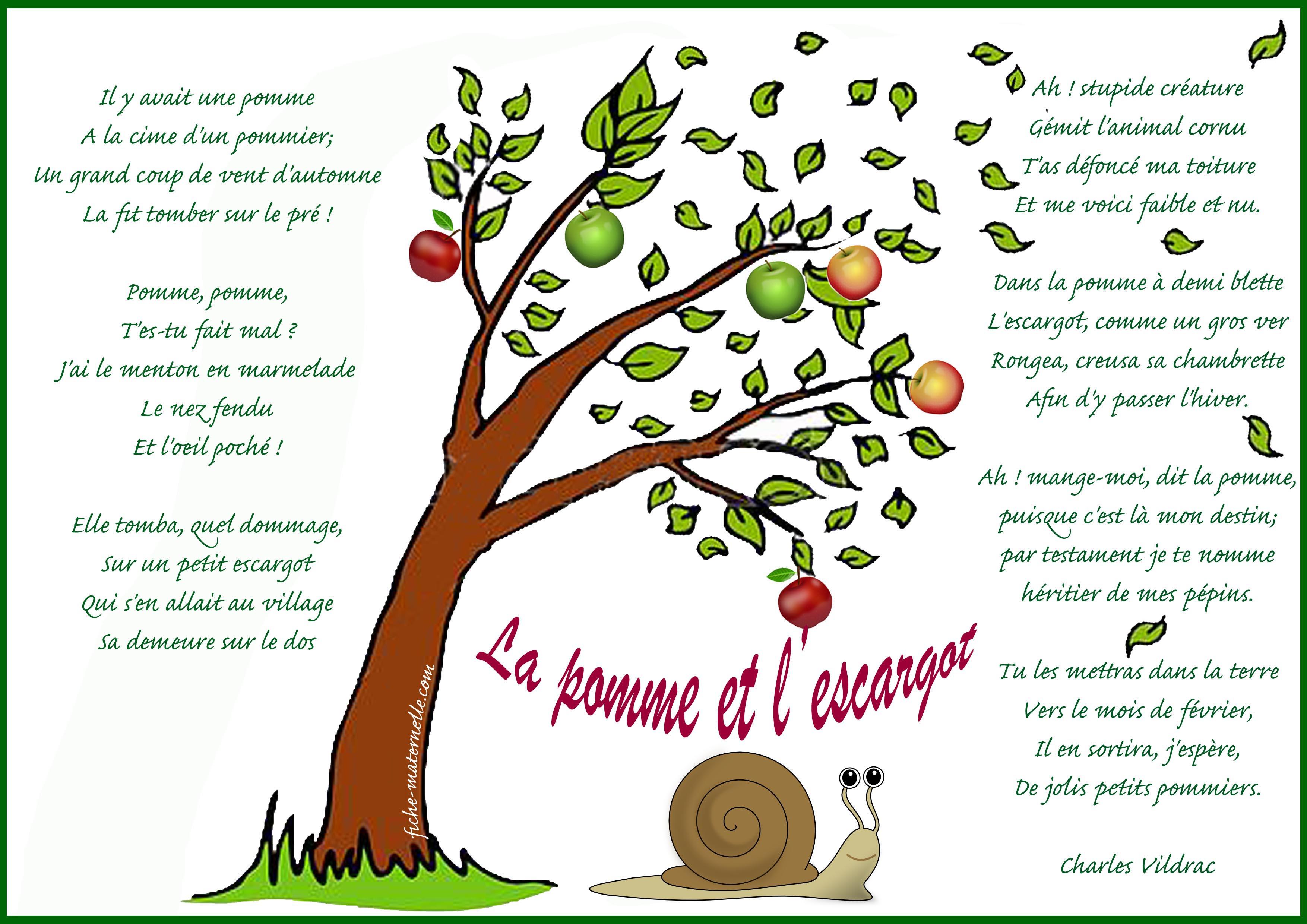 La pomme et lescargot vildrac - Escargot maternelle ...