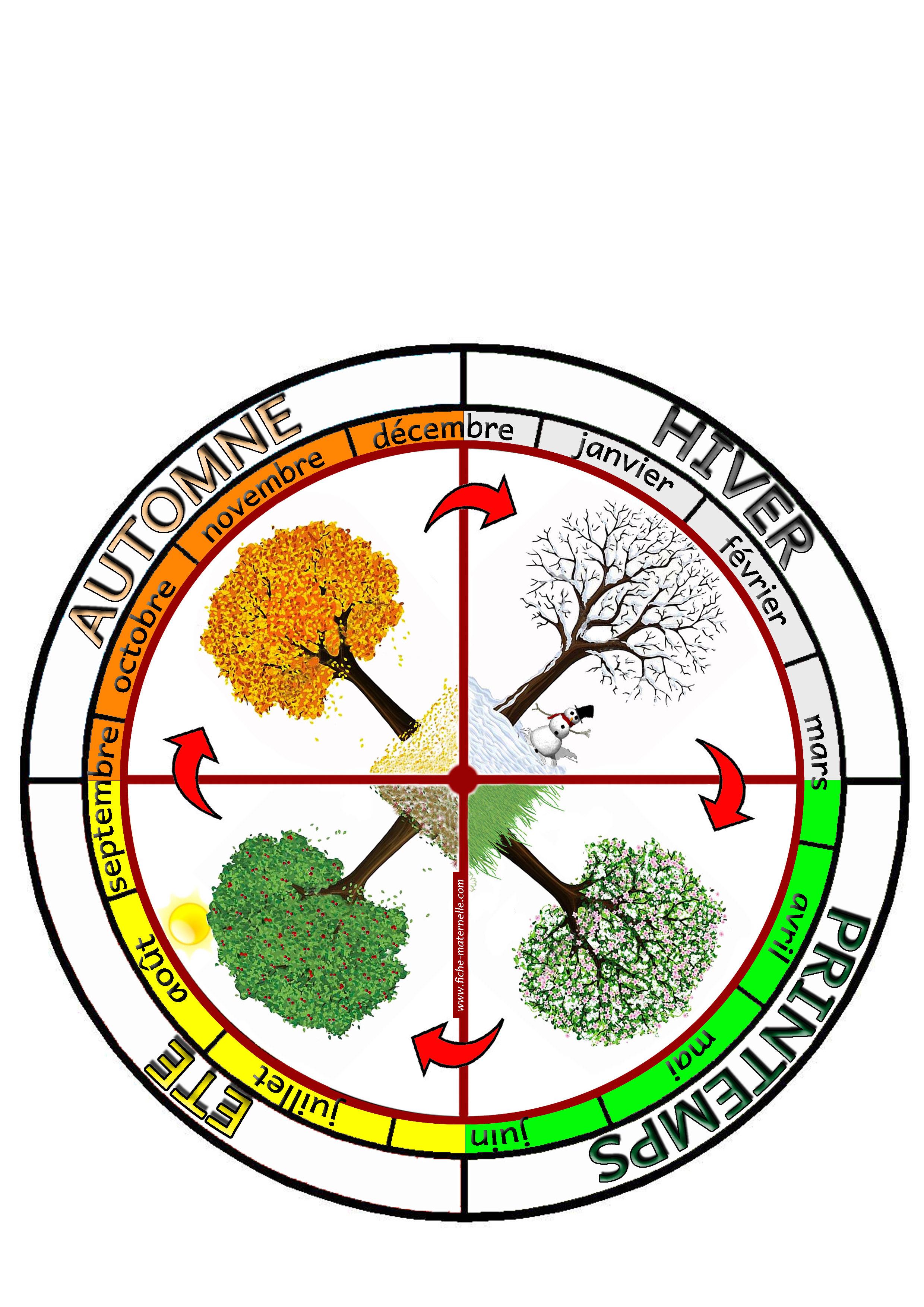 Affichage la roue des saisons constituer une roue avec for Le jardin des 4 saisons pusignan