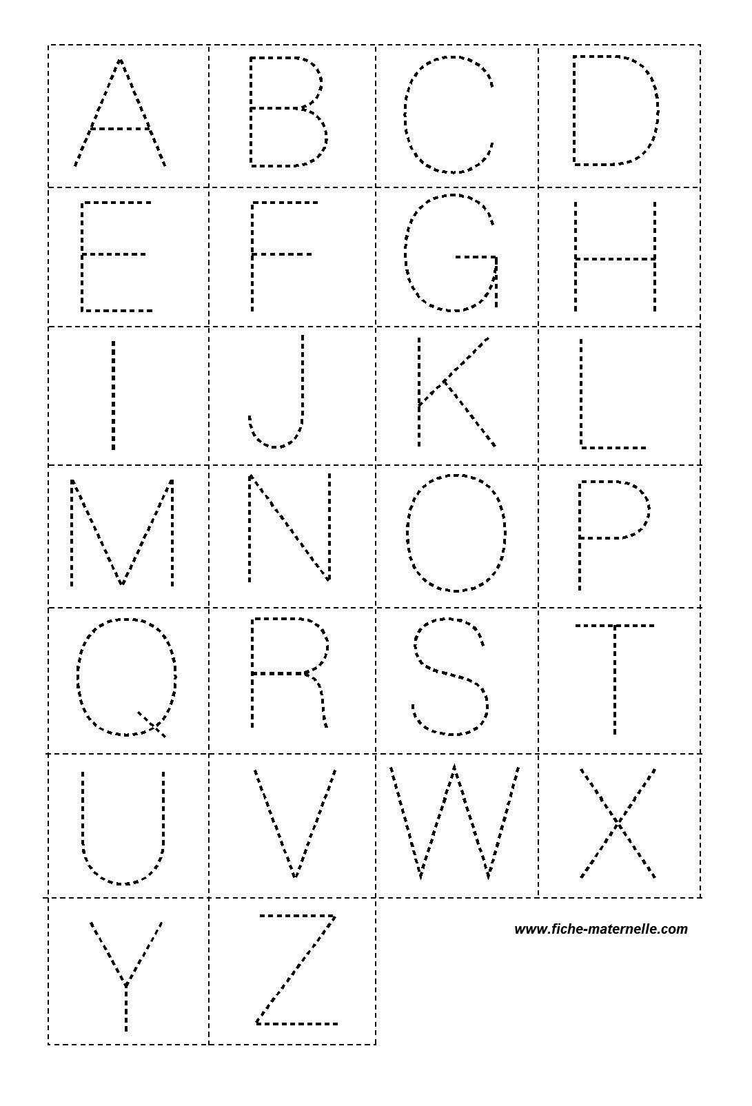 Lettres en pointill pour la classe - Lettre de l alphabet en majuscule a imprimer ...