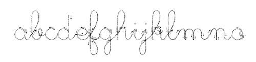 police écriture cursive pointillé