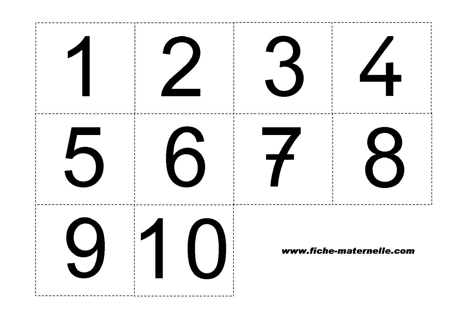 Etiquettes des chiffres de 1 10 - Chiffre a imprimer gratuit ...