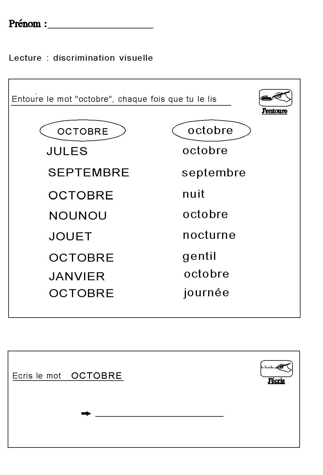 Souvent Fiche maternelle pour apprendre à lire et ecrire le mot OCTOBRE  FA05