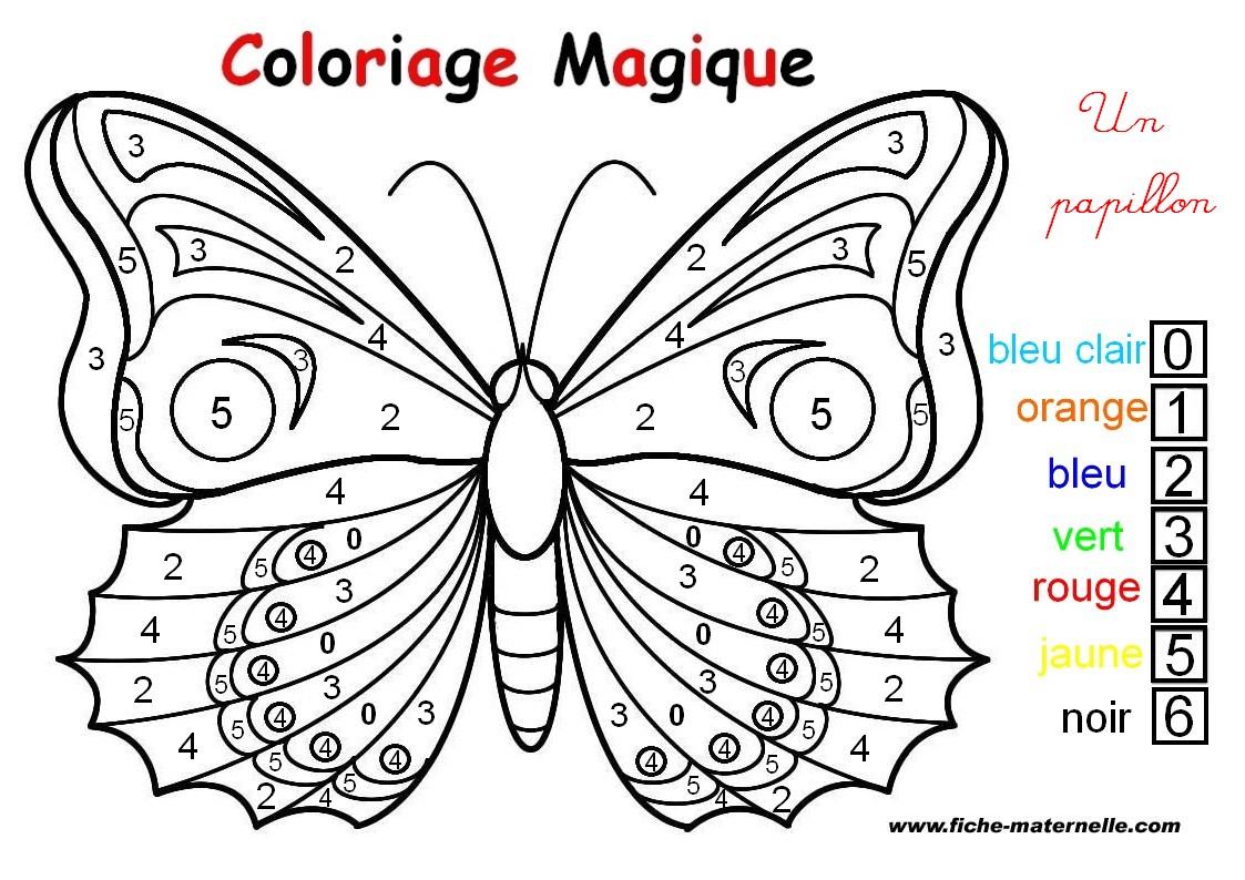 Coloriage magique un papillon - Coloriage d un papillon ...