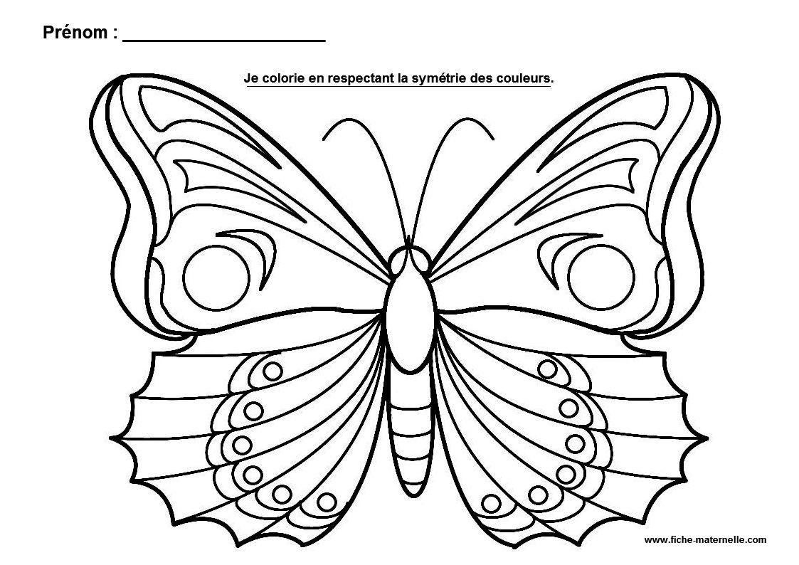 La sym trie en maternelle - Coloriage de papillon ...