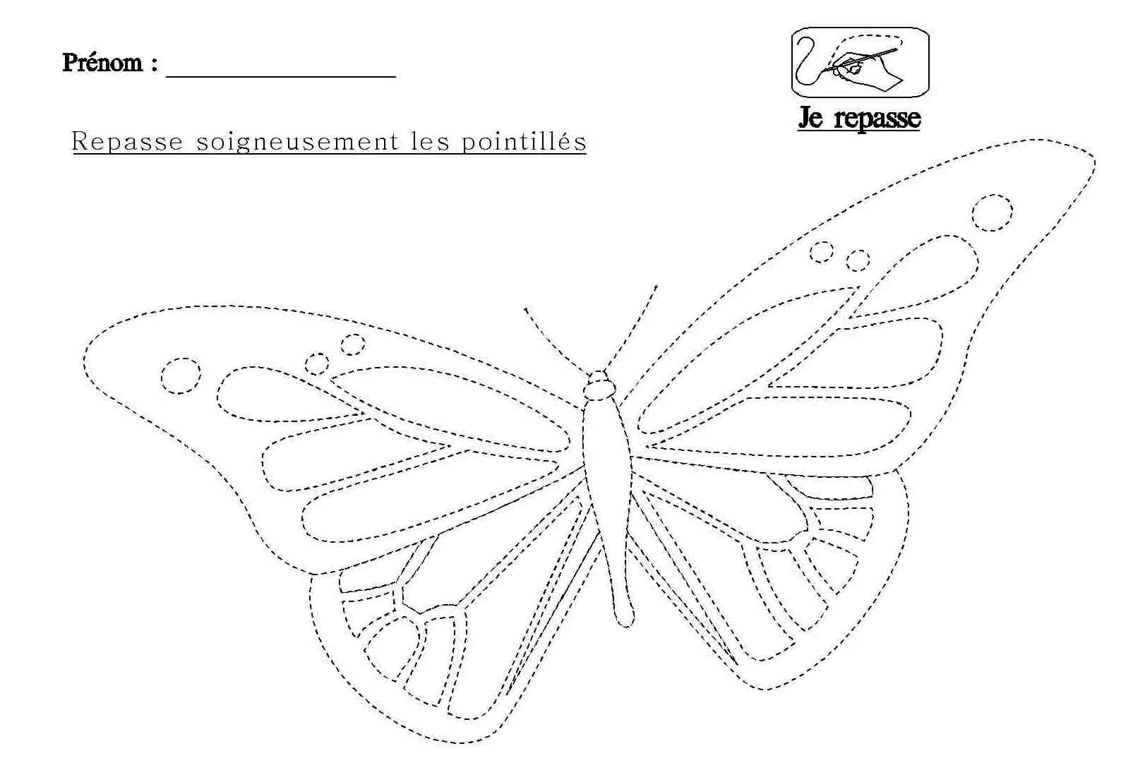 Graphisme repasser les pointill s du papillon - Papillon maternelle ...