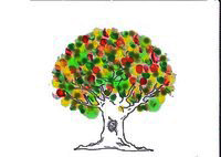 un arbre peinture doigts