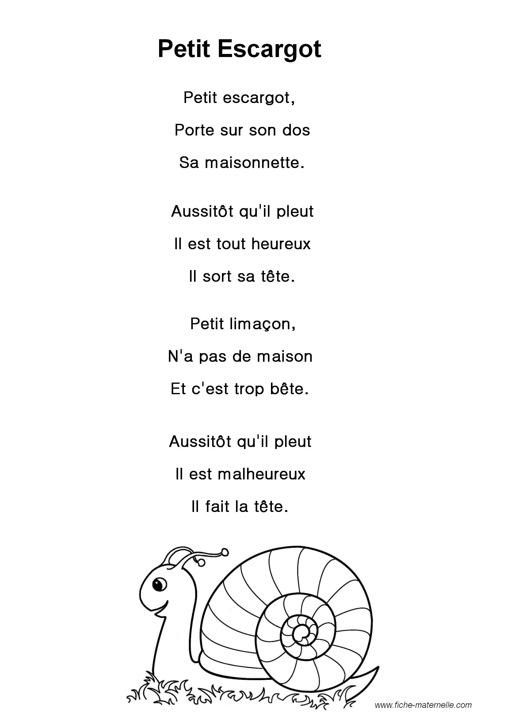 Paroles de la chanson petit escargot - Parole petit escargot porte sur son dos ...
