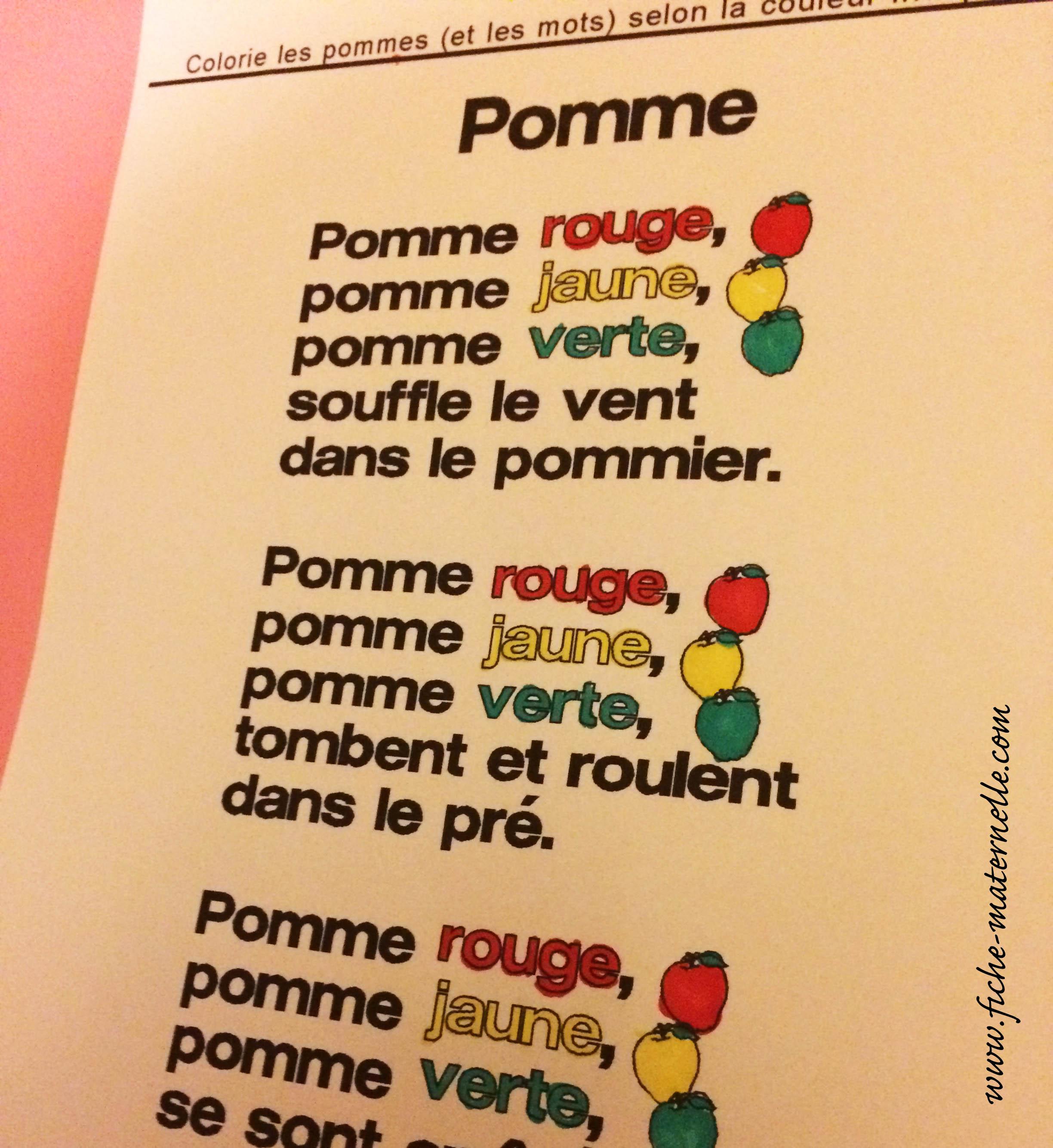 Automne En Maternelle Poésie Sur La Pomme