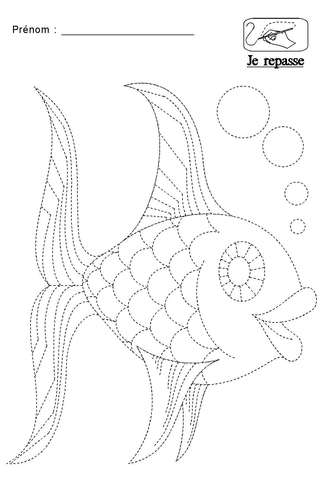 Graphisme repasser les pointill s du poisson - Poisson en maternelle ...