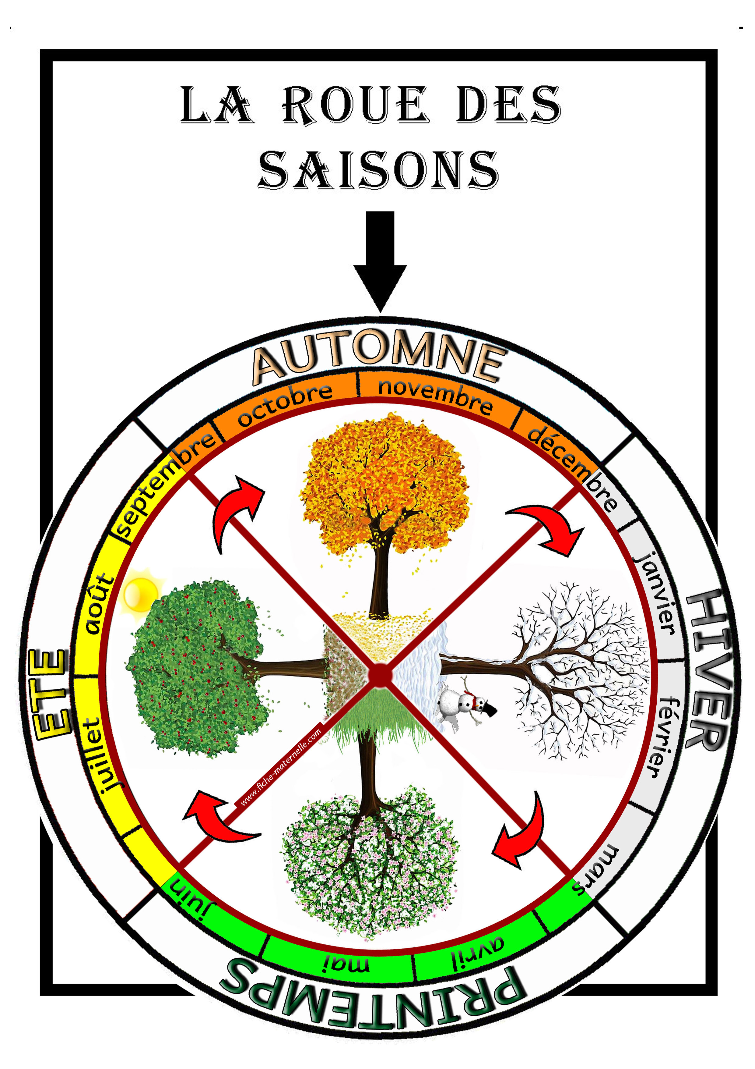 Affichage la roue des saisons constituer une roue avec les 4 saisons ainsi que leur r partion - Dessin 4 saisons ...
