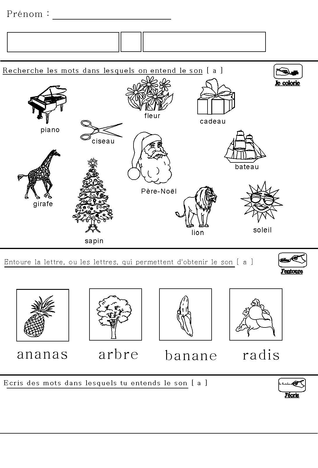 Souvent Phonologie : fiche maternelle sur le son [a] pour maternelle  FA05